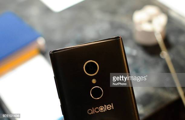 Alcatel 5 at Alcatel stand during the Mobile World Congress Day 2 on February 27 2018 in Barcelona Spain