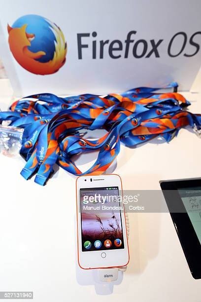 Alcatel' s budget Fire C mobile phone which runs Mozilla's Firefox OS operating system sits on display at the Alcatel One Touch pavilion during the...