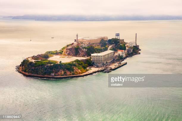 alcatraz aerial view- san francisco - alcatraz island stock pictures, royalty-free photos & images