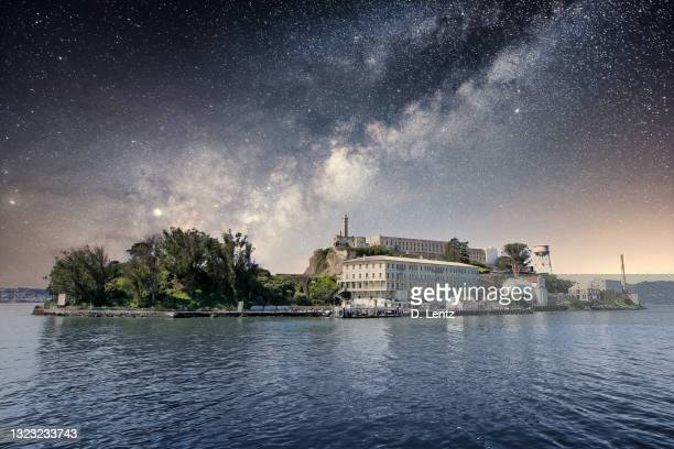 alcatraz at night - north beach san francisco stock pictures, royalty-free photos & images