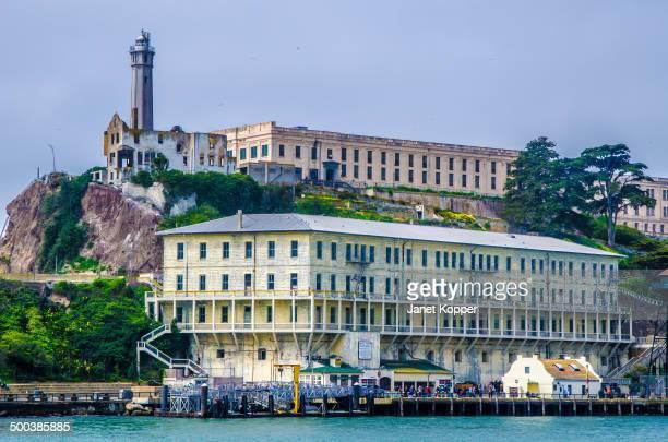 Alcatraz Island as seen approaching the dock.