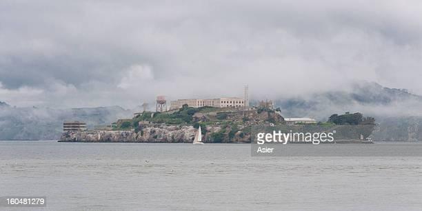 Alcatraz island in a foggy day, San Francisco