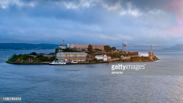 aerial alcatraz island, offshore from san francisco, ca stock photo - north beach san francisco stock pictures, royalty-free photos & images