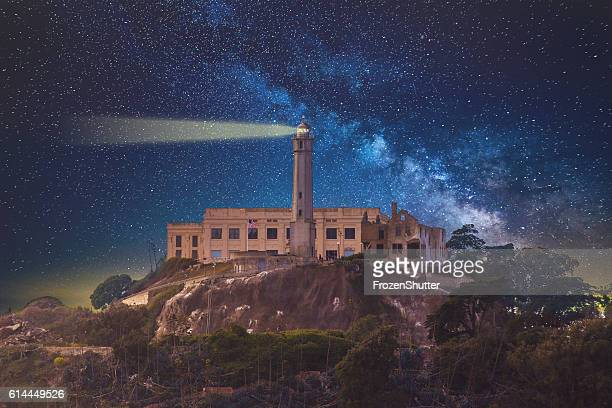 alcatraz island prison in san fransico ca milky way - alcatraz stock photos and pictures