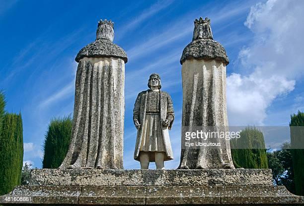 Alcazar de los Reyes Cristianos Statue of Christopher Columbus King Ferdinand and Queen Isabella