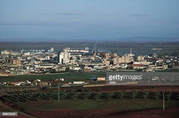 Alcazar de San Juan Ciudad Real Aerial view of the city located in the vast plain of La Mancha