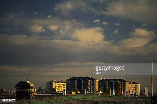 Alcazar de San Juan Ciudad Real Panoramic view of the new blocks of housings to the outskirts of the town