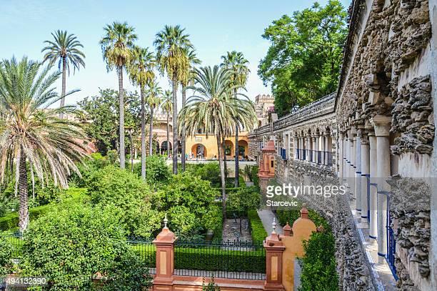 Alcazar gardens in Seville, Spain