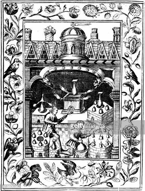 Alchemical laboratory showing various forms of furnace and vessels From Elias Ashmole Theatrum Chemicum Britannicum London 1652