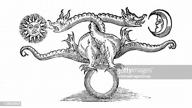 Alchemical symbol of transmutation of base metal into Gold and Silver through the agency of the dragon From Theatrum Chemicum Britannicum Elias...