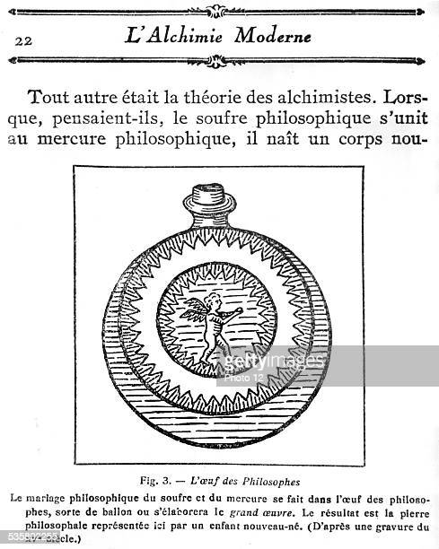 L'Alchimie moderne' The 'Philosopher's egg' combination of sulfur and mercury the Philosopher's stone
