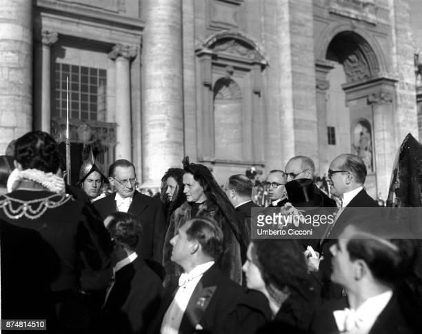 Alcide De Gasperi and his wife Francesca Romani at the Assumption of Mary ceremony Vatican 1950