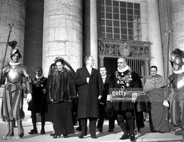 Alcide De Gasperi and his wife Francesca Romani at the Assumption of Mary's ceremony Vatican 1950