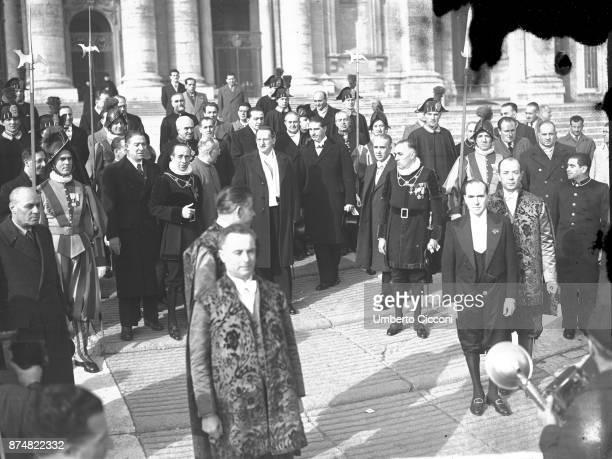 Alcide De Gasperi at the Vatican for a Mexican pilgrimage event in 1949