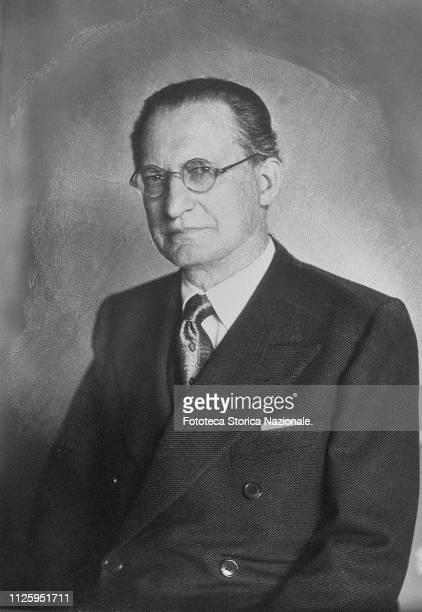 Alcide de Gasperi politician deputy for the Partito Popolare last president of the Council of Ministers of the Kingdom of Italy since 1945 Portrait...