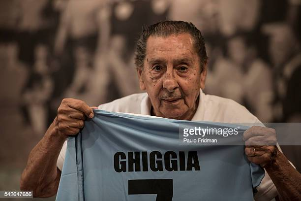 Alcides Edgardo GHIGGIA know for the goal that gave Uruguay the soccer championship in 1950 Brazil speaks at an interview at the TenField office in...
