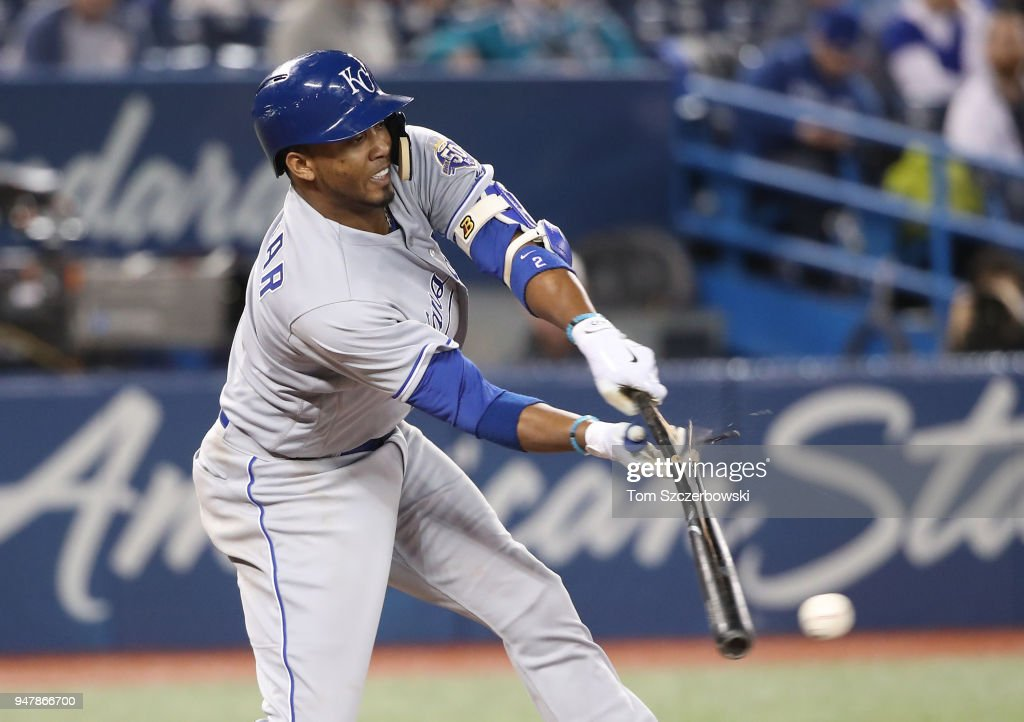 Alcides Escobar #2 of the Kansas City Royals breaks his bat as he grounds out in the sixth inning during MLB game action against the Toronto Blue Jays at Rogers Centre on April 17, 2018 in Toronto, Canada.