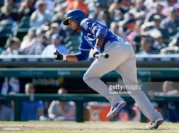 Alcides Escobar of the Kansas City Royals breaks out of the batters box but is thrown out at first base during the eighth inning at Comerica Park on...