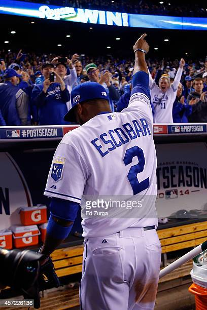Alcides Escobar of the Kansas City Royals celebrates after defeating the Baltimore Orioles 2 to 1 in Game Three of the American League Championship...