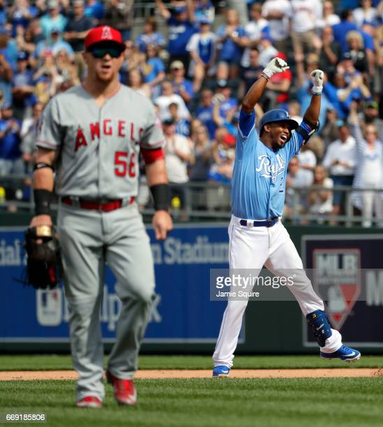 Alcides Escobar of the Kansas City Royals celebrates after hitting a single to knock in the gamewinning run during the 9th inning of the game against...