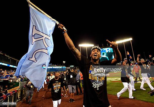 Alcides Escobar of the Kansas City Royals celebrates after the Royals defeated the Los Angeles Angels 9-3 to win game 3 of the American League...