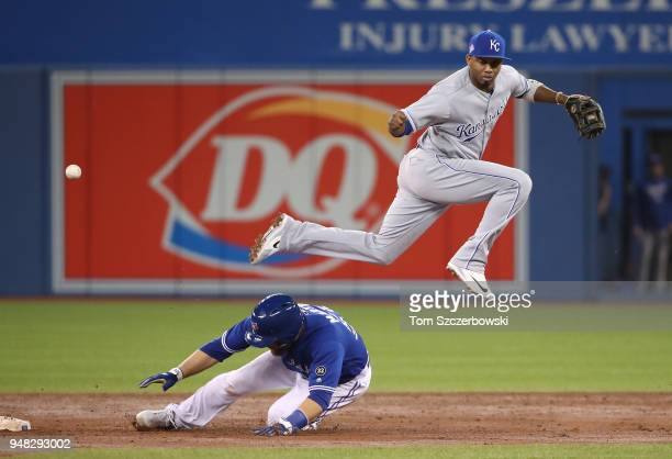 Alcides Escobar of the Kansas City Royals commits an error by dropping the ball while trying to get the force out of Russell Martin of the Toronto...
