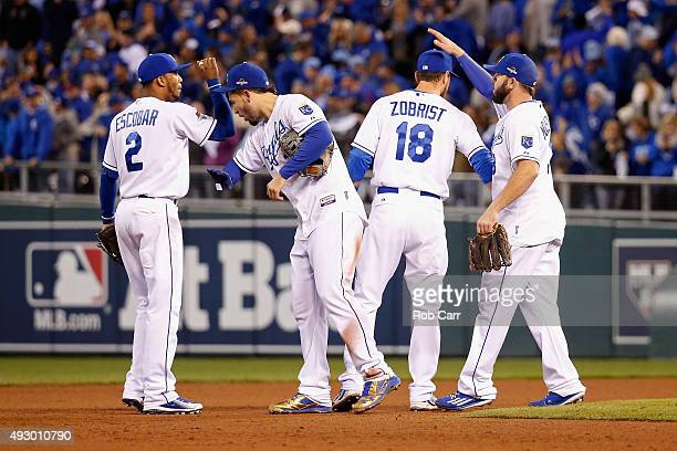 Alcides Escobar of the Kansas City Royals Eric Hosmer of the Kansas City Royals Ben Zobrist of the Kansas City Royals and Mike Moustakas of the...