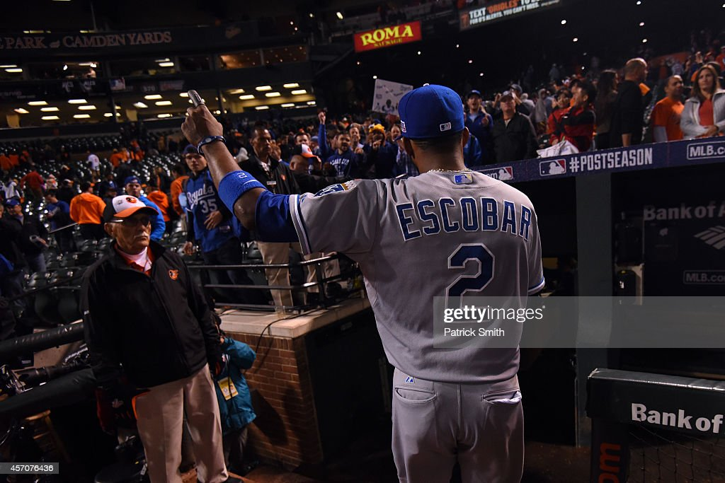 Alcides Escobar #2 of the Kansas City Royals exits the field after defeating the Baltimore Orioles 6 to 4 in Game Two of the American League Championship Series at Oriole Park at Camden Yards on October 11, 2014 in Baltimore, Maryland.