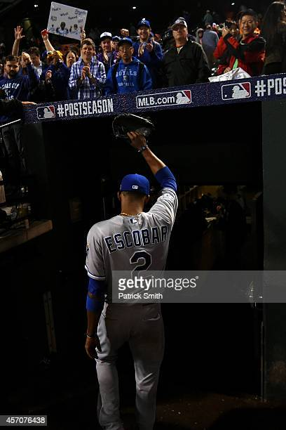 Alcides Escobar of the Kansas City Royals exits the field after defeating the Baltimore Orioles 6 to 4 in Game Two of the American League...