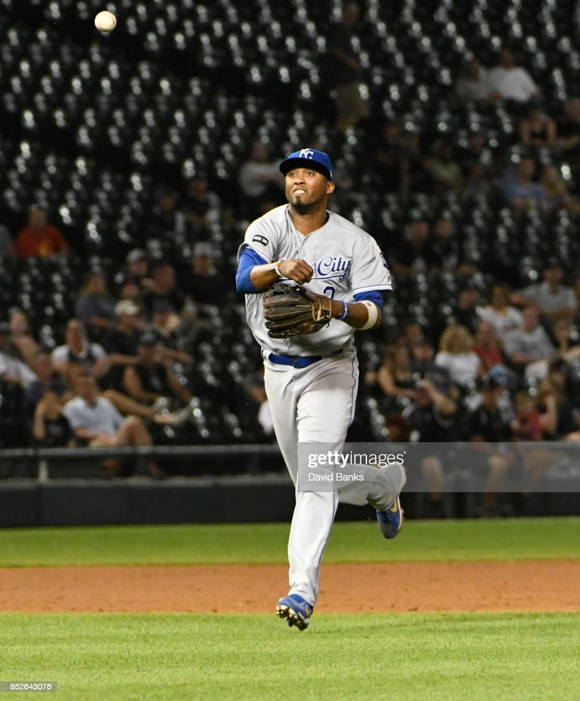 Alcides Escobar #2 of the Kansas City Royals fields a ground ball hit by Tim Anderson #7 of the Chicago White Sox and throws to first base for the final out on September 23, 2017 at Guaranteed Rate Field in Chicago, Illinois. The Royals defeated the White Sox 8-2.