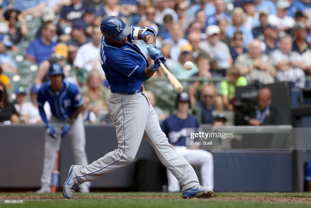 Alcides Escobar #2 of the Kansas City Royals hits a single in the fifth inning against the Milwaukee Brewers at Miller Park on June 27, 2018 in Milwaukee, Wisconsin.