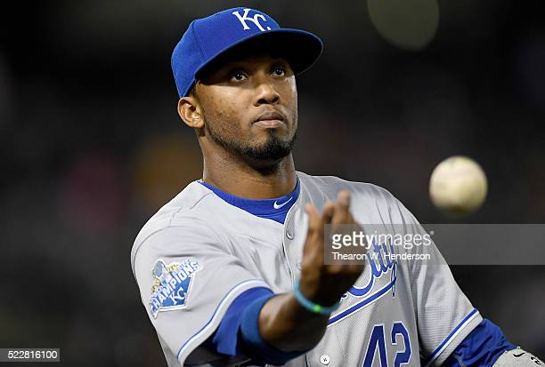 Alcides Escobar of the Kansas City Royals looks on as he walks off the field at the end of the eighth inning against the Oakland Athletics Oco...