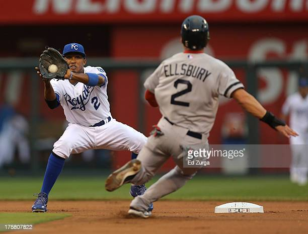 Alcides Escobar of the Kansas City Royals makes the catch and prepares to tag out Jacoby Ellsbury of the Boston Red Sox on a steal in the first...