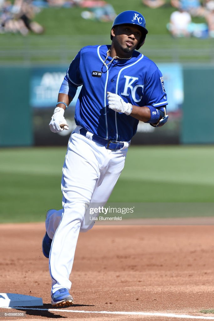 Alcides Escobar #2 of the Kansas City Royals runs the bases after hitting a solo homerun in the first inning against the Chicago Cubs at Surprise Stadium on March 1, 2017 in Surprise, Arizona.