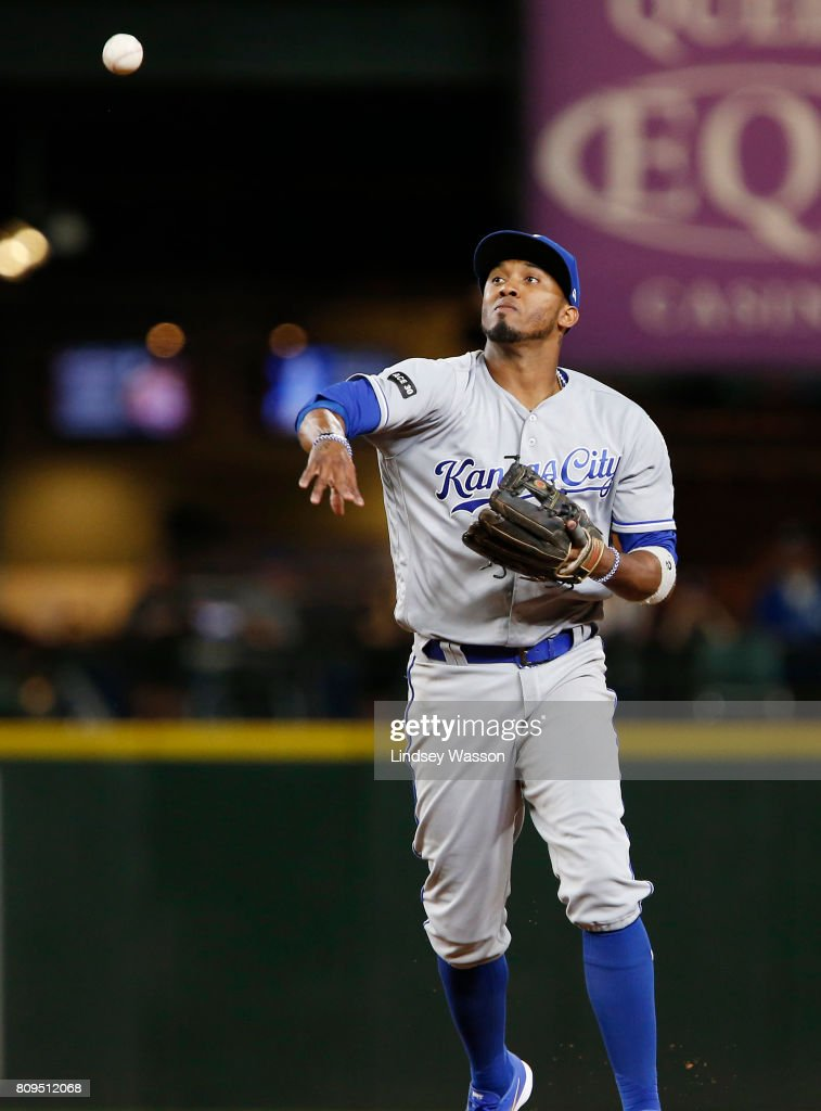 Alcides Escobar #2 of the Kansas City Royals throws Robinson Cano #22 of the Seattle Mariners out at first to end the game in the tenth inning at Safeco Field on July 5, 2017 in Seattle, Washington.