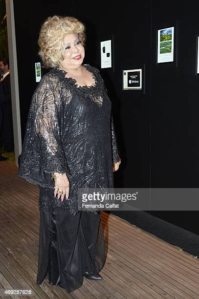 Alcione attends the 5th Annual amfAR Inspiration Gala at the home of Dinho Diniz on April 10 2015 in Sao Paulo Brazil