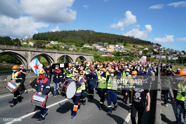Alcoa workers demonstrate in the streets of Viveiro on June 7, 2020 in Viveiro, Lugo, Spain. Alcoa workers are once again taking to the streets to...