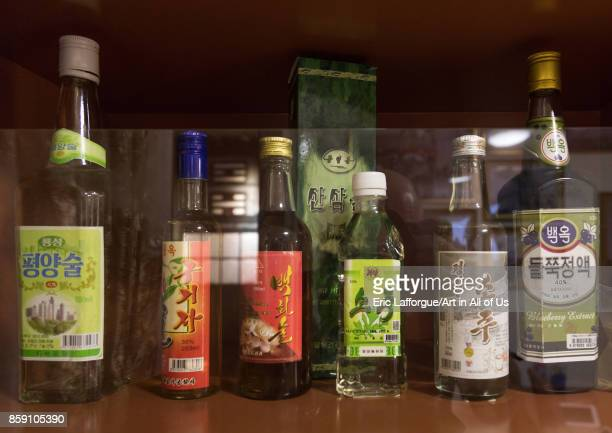 Alcohol bottles during the exhibition Pyongyang sallim at architecture biennale showing a north Korean apartment replica National Capital Area Seoul...