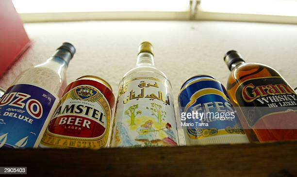 Alcohol is seen on a shelf in AlKahaf or The Cave Bar January 27 2004 in Baghdad Iraq The bar serves beer and liquor and caters to men only Saddam...
