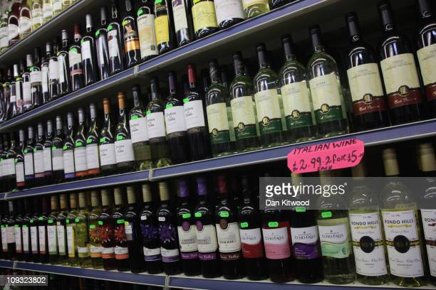 Alcohol lines shelves in an Off License in Brixton on February 21 2011 in London England Doctors have warned that inadequate regulations on alcohol...