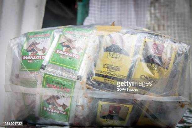 Alcohol on sale at a bar in Dublin, Sierra Leone's Banana Islands. The Banana Islands were once a slave trading port. They are now home to a few...
