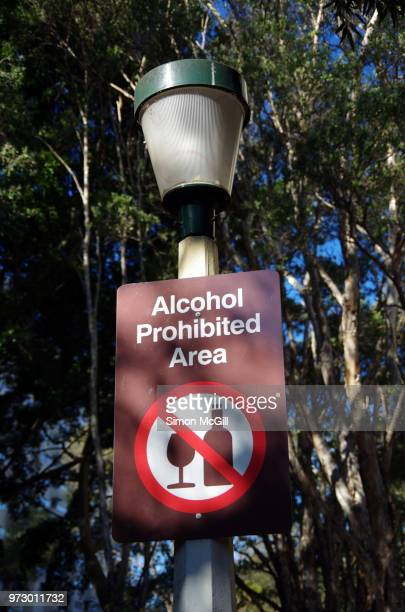 'Alcohol prohibited area' sign on a street light in a public park