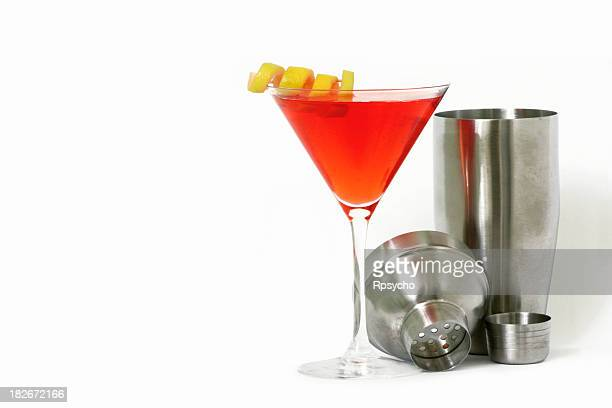 alcohol- red martini and shaker - twisted stock pictures, royalty-free photos & images