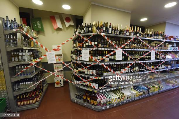 TOPSHOT Alcohol sales in glass bottles are banned as English fans descend on the city of Volgograd Russia on June 17 2018 on the eve of the Russia...