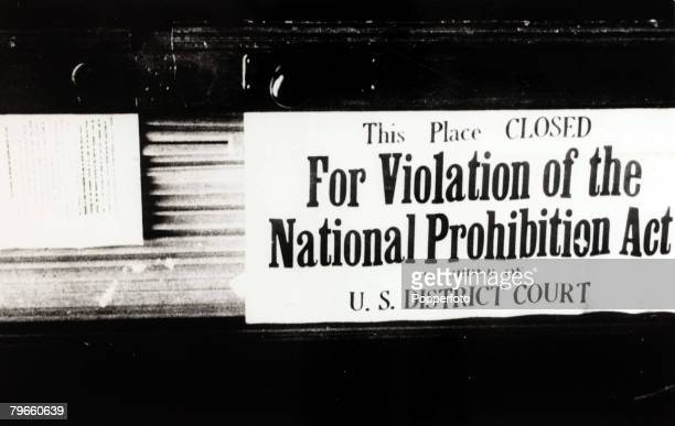 Alcohol/Prohibition A sign in a New York USA premises during the prohibition years