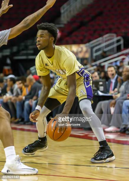 Alcorn State Braves guard Maurice Howard looks for an open player during the SWAC basketball tournament men's championship game between the Texas...
