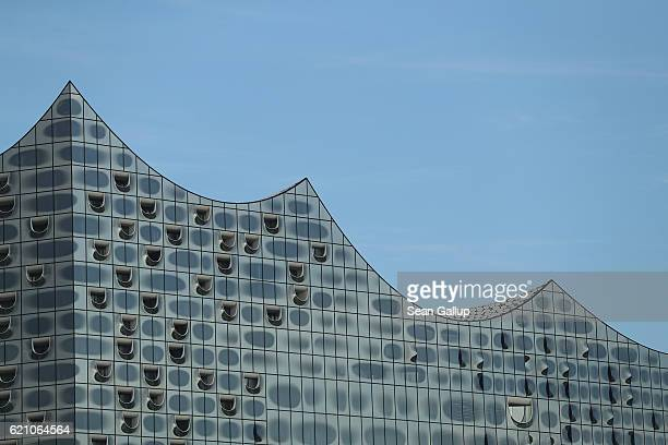 Alcove terraces that look like the portholes of a ship are seen on the glass facade of the newlycompleted Elbphilharmonie concert hall on November 4...