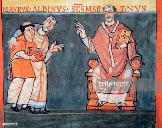 Alcuin of York or Ealhwine nicknamed or Flaccus English scholar ecclesiastic poet and teacher from York Northumbria Alcuin presents to Rabanus Maurus...