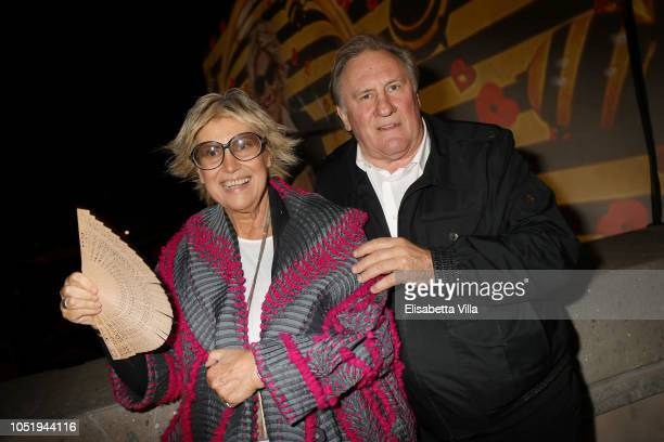 Alda Fendi and Gerard Depardieu attend Fondazione Alda Fendi Esperimenti - Jean Nouvel - Rhinoceros on October 11, 2018 in Rome, Italy.