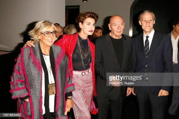 Alda Fendi Antonia Dell'Atte Jean Nouvel and Gerard Depardieu attend Fondazione Alda Fendi Esperimenti Jean Nouvel Rhinoceros on October 10 2018 in...